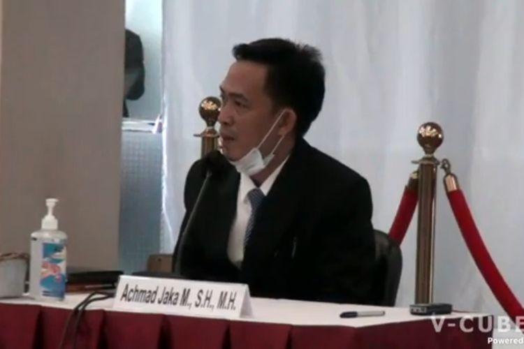 Calon hakim ad hoc Hubungan Industrial dari unsur Apindo pada Mahkamah Agung (MA), Achmad Jaka Mirdinata menjalani tes wawancara hari ini  Rabu (2/12/2020).