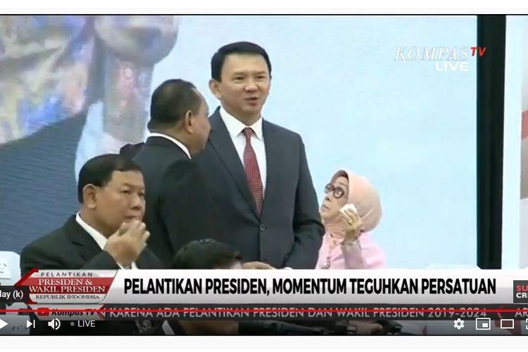Mantan Gubernur DKI Jakarta Basuki Tjahaja Purnama alias Ahok menghadiri acara pelantikan Joko Widodo-Maruf Amin sebagai Presiden dan Wakil Presiden, Minggu (20/10/2019).