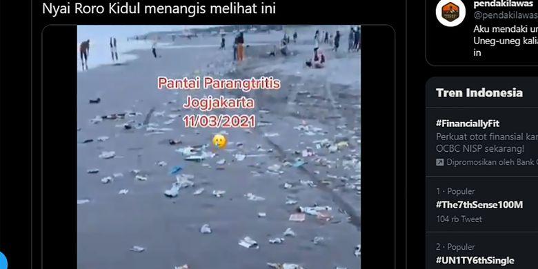 Oops, Viral Video Pantai Parangtritis Penuh Sampah Usai Libur Panjang