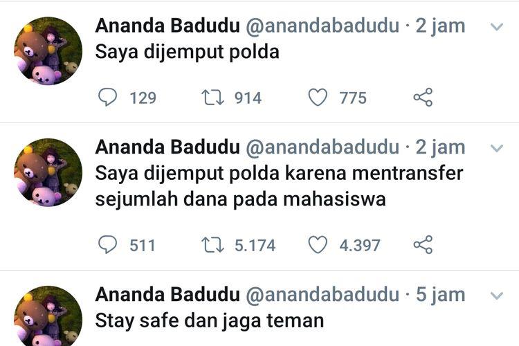 Cuitan eks vokalis Banda Neira Ananda Badudu usai ditangkap polisi dari Polda Metro Jaya, Jumat (27/9/2019).