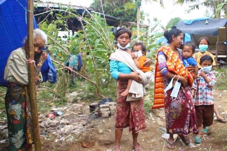 Sejumlah warga di pengungsian korban gempa Lombok.