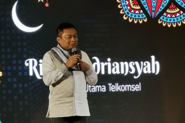 Direktur Utama Telkomsel Ririek Adriansyah dalam acara buka puasa bersama di kantor Telkomsel di Jakarta, Senin (20/5/2019).