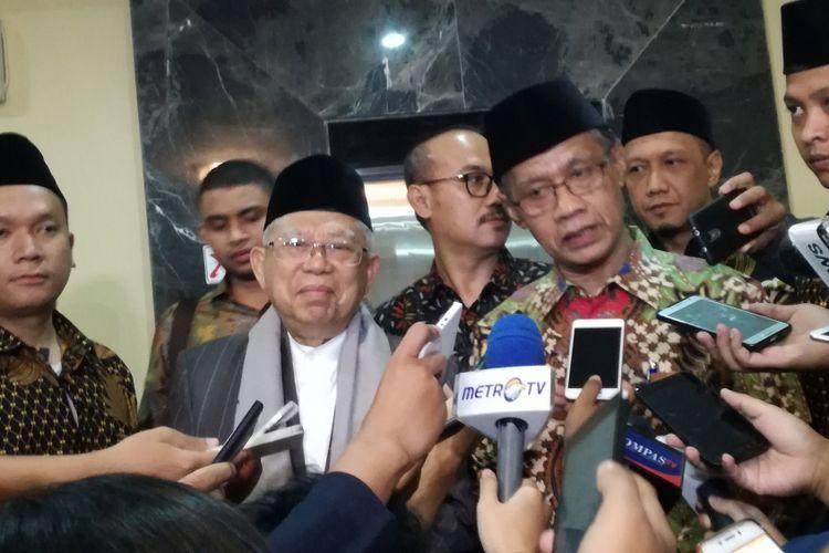 Bakal calon wakil presiden Maruf Amin (kiri) dan Ketum PP Muhammadiyah Haedar Nashir (kanan)