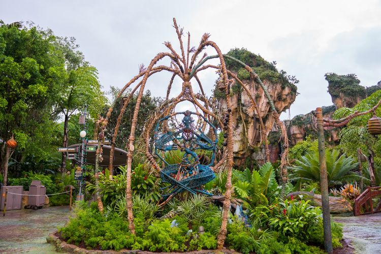 Ornamen yang terbuat dari eco faux yang dipasang di taman tematik Avatar di Disney World Florida, Amerika Serikat.