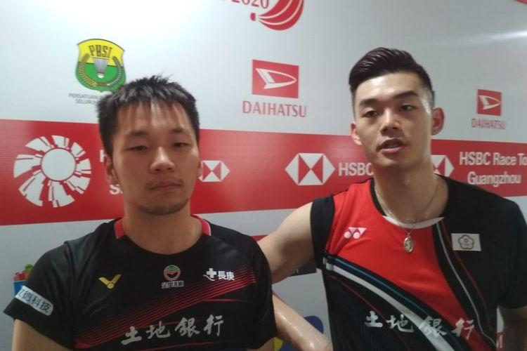 Ganda putra Taiwan, Lee Yang/Wang Chi-Lin, seusai bermain pada laga perempat final Indonesia Masters 2020 di Istora Senayan, Jumat 17 Januari 2020.