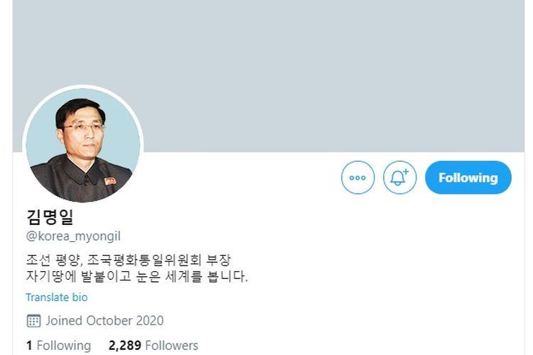 Tangkapan akun Twitter dari Korea Utara yang mengaku bernama Kim Myong-il dan mengaku sebagai Direktur Komite untuk Reunifikasi Korea.