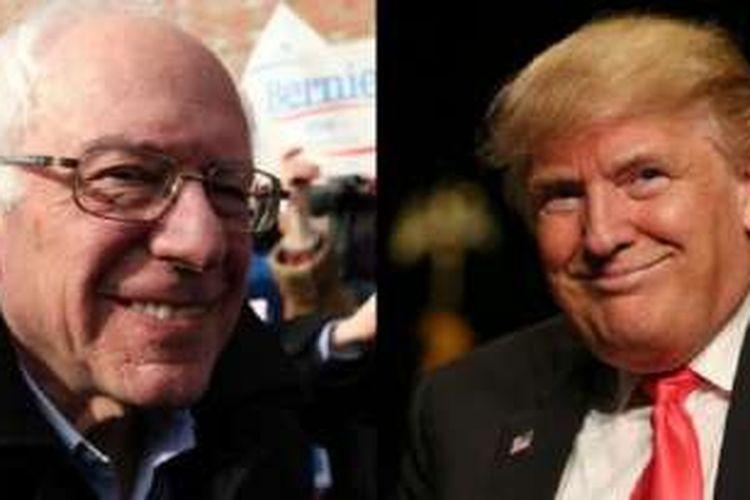 Bernie Sanders (kiri) dan Donald Trump (kanan) ialah kandidat favorit dari partainya masing-masing.