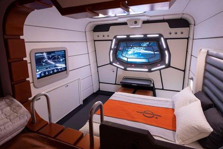 Kamar dalam hotel bertema Star Wars di Star Wars: Galactic Starcruiser.