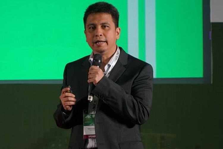 Managing Director Grab Indonesia Ridzki Kramadibrata saat berbicara dalam konferensi Echelon Indonesia 2016 di Jakarta, Selasa (5/4/2016).