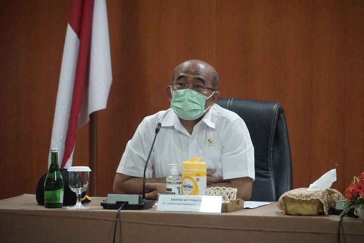 Menteri Koordinator Bidang Pembangunan Manusia dan Kebudayaan (PMK) Muhadjir Effendy di kantor Taman Wisata Candi Borobudur, Rabu (17/2/2021)