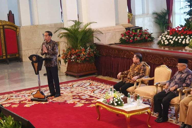 Presiden Joko Widodo membuka Musyawarah Rencana Pembangunan Nasional dan RPJMN 2020-2024 di Istana Negara, Jakarta, Senin (16/12/2019).