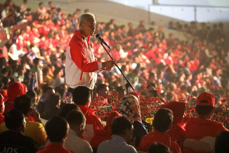 Gubernur Jawa Tengah Ganjar Pranowo saat pidato dalam upacara pembukaan Asean Schools Games ke 11, Kamis (18/7/2019) di Holy Stadium Marina Semarang.