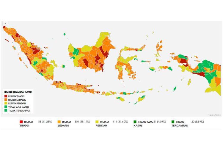 Tangkapan layar zona merah di laman Peta Risiko per 24 September 2020, ada 58 zona merah