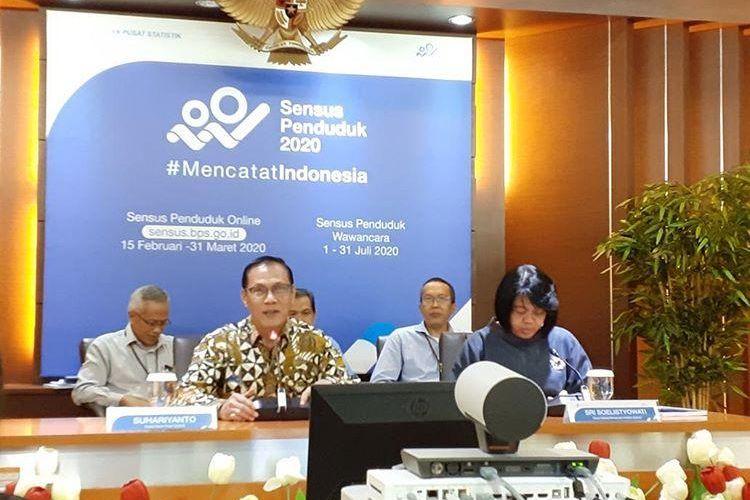 Kepala BPS Suhariyanto saat memaparkan pertumbuhan ekonomi sepanjang 2019 di Gedung BPS, Jakarta, Rabu (5/2/2020).