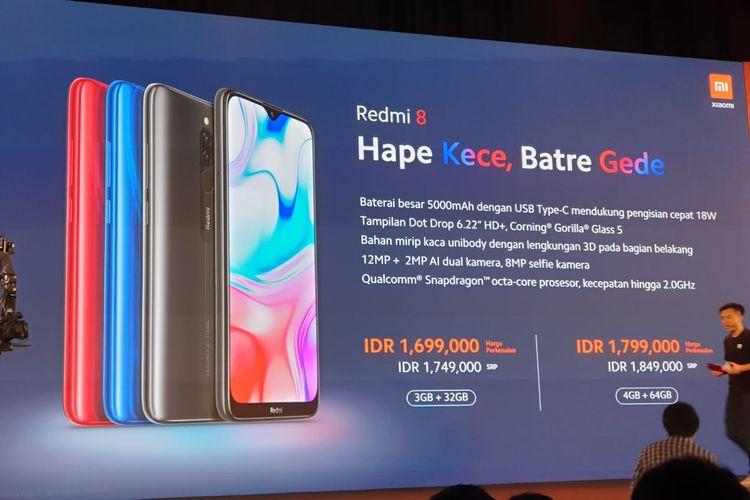 Peluncuran Redmi 8 di Jakarta, Rabu (4/12/2019).