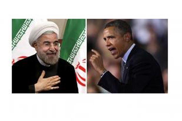 Presiden Iran Hassan Rohani (kiri) dan Presiden Amerika Serikat Barack Obama