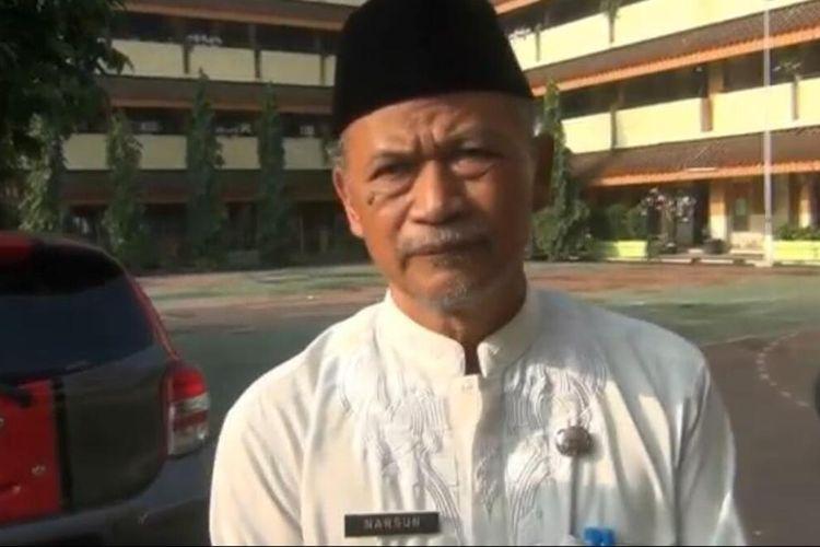 Kepala SMPN 147 Jakarta Narsun kepada awak media di SMPN 147 Jakarta, Cibubur, Jakarta Timur, Jumat (17/1/2020).