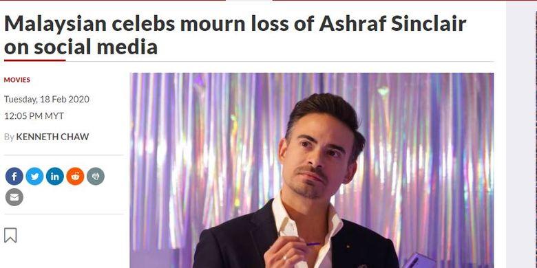 Tangkapan layar soal pemberitaan meninggalnya Ashraf Sinclair di media Malaysia The Star