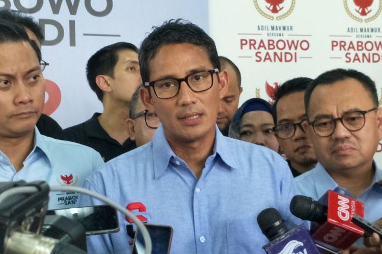 Calon wakil presiden nomor urut 02 Sandiaga Uno di media center pasangan Prabowo-Sandiaga, Jalan Sriwijaya, Jakarta Selatan, Rabu (27/2/2019).