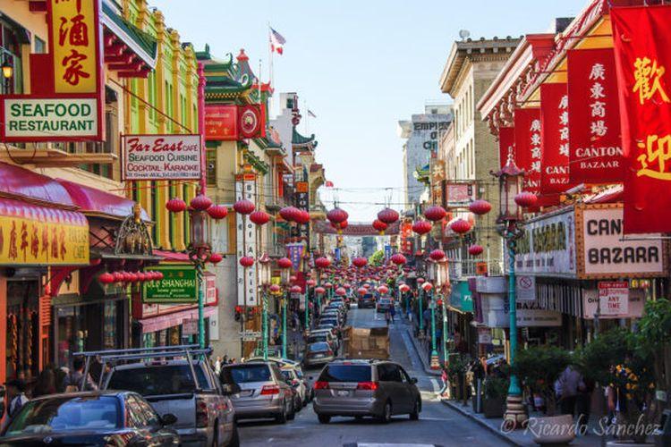 Chinatown atau pecinan di San Fransisco, Amerika Serikat.
