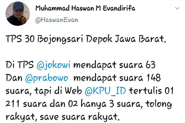 KPU Depok yang salah input, Senin (22/4/2019).