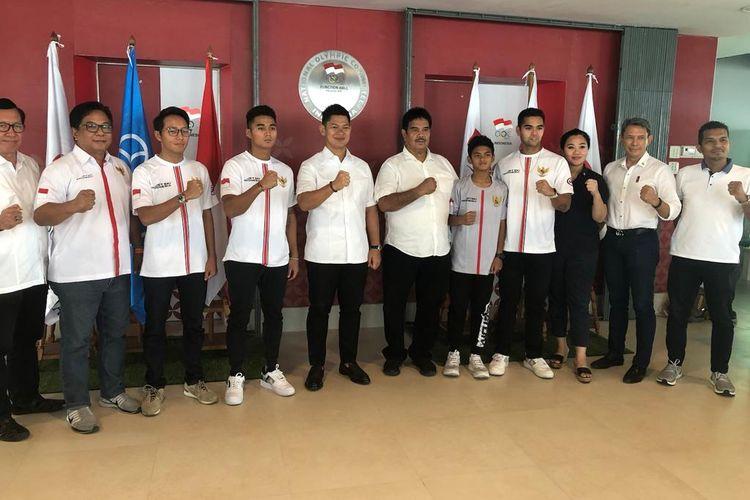 Pengurus beserta atlet Ikatan Jetsport Boating Association (IJBA) menemui Ketua Komite Olimpiade Indonesia (KOI) Raja Sapta Oktohari, di Gedung FX, Senayan, Jakarta, Senin (18/11/2019).