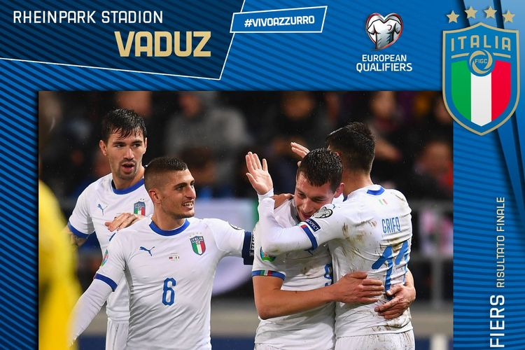 Laga Liechtenstein vs Italia berlangsung di Stadion Rheinpark, Vaduz, dalam lanjutan kualifikasi Euro 2020, 15 September 2019.