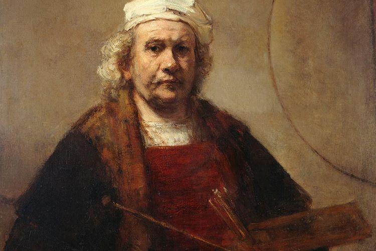 Rembrandt van Rijn melukis dirinya dalam Self-Potrait with Two Circles.