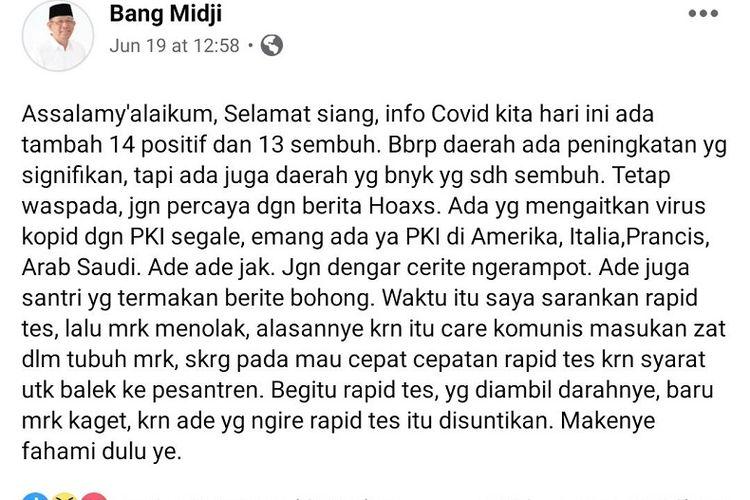 Status Facebook Gubernur Kalbar Sutarmidji di akun resminya soal PKI dan corona, Jumat (19/06/2020)