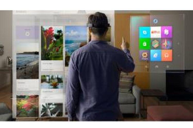 Pengguna HoloLens melihat tampilan komputer dengan lensa hologram