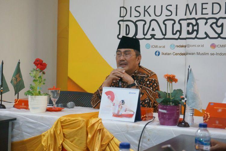 Ketua ICMI Jimly Asshiddiqie dalam acara diskusi di kawasan Gondangdia, Jakarta, Kamis (24/10/2019).