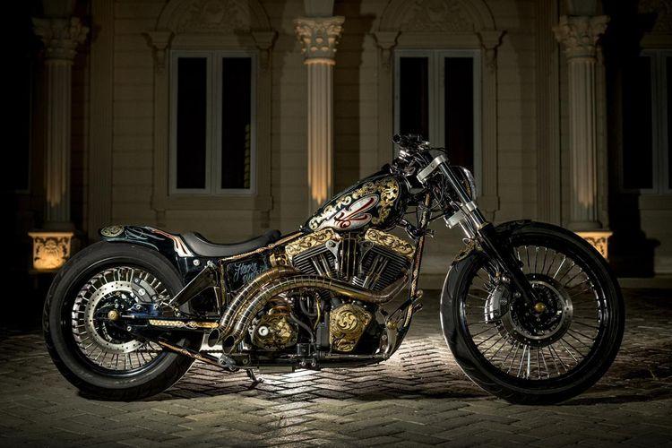 Motor custom Harley-Davidson Softail Evo bergaya American Chopper garapan Three Monkeys Engineering