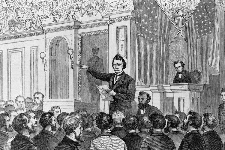 Ilustrasi pidato terakhir Presiden Andrew Johnson sebelum dimakzulkan