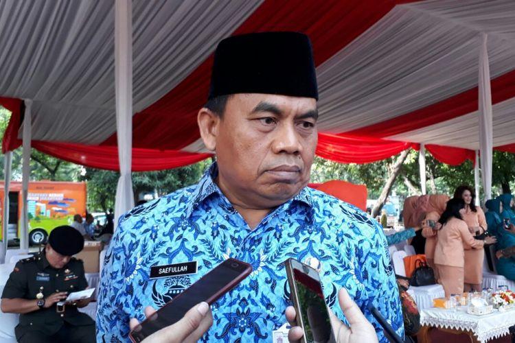 Sekretaris Daerah Provinsi DKI Jakarta Saefullah di Lapangan IRTI, Monas, Jakarta Pusat, Senin (30/10/2017).