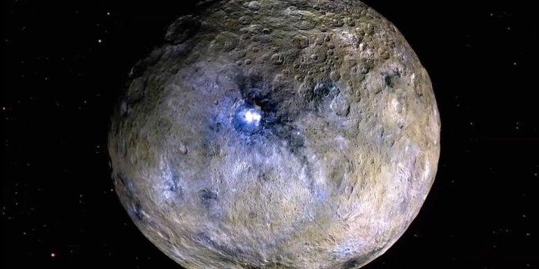 Ceres, objek Tata Surya yang terletak di sabuk asteroid antara Mars dan Jupiter.