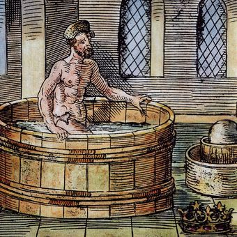 Ilustrasi Archimedes menemukan ilham ketika berada di bak mandi. Ia berteriak, Eureka!