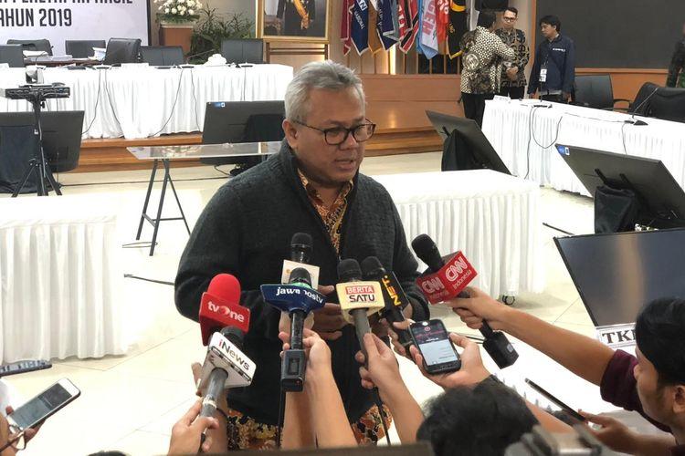Ketua KPU Arief Budiman di Gedung KPU, Jakarta Pusat, Sabtu (18/5/2019).