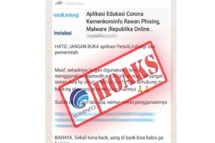 Hoaks aplikasi Peduli Lindungi rawan pishing dan malware