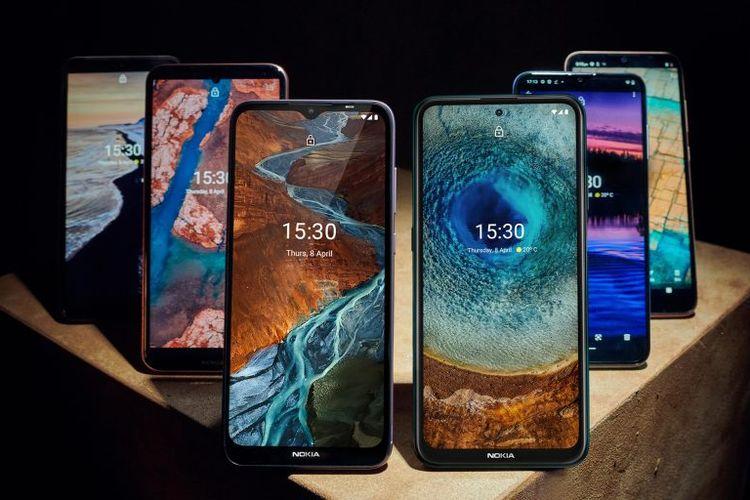 Ilustrasi 6 ponsel baru Nokia dari tiga lini berbeda
