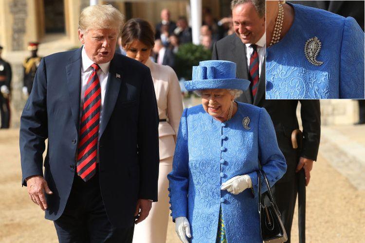 Ratu Elizabeth saat bertemu Donald Trump