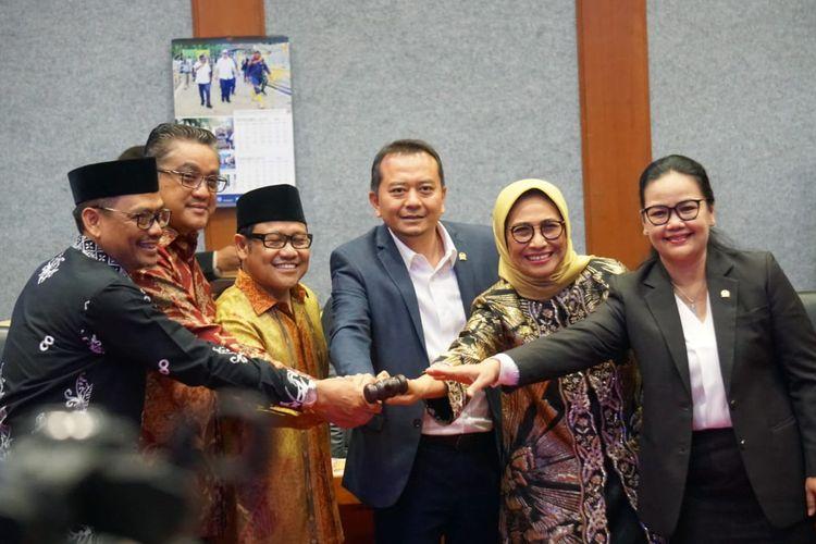 Muhaimin Iskandar dalam pengukuhan Syaiful Huda sebagai Ketua Komisi X DPR RI, di kompleks Parlemen, Senayan, Jakarta, Rabu (30/10/2019).