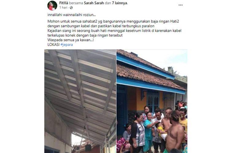Tangkapan layar unggahan yang menyebut seorang bocah di Jepara meninggal dunia setelah tersengat listrik yang menyalur di baja ringan.