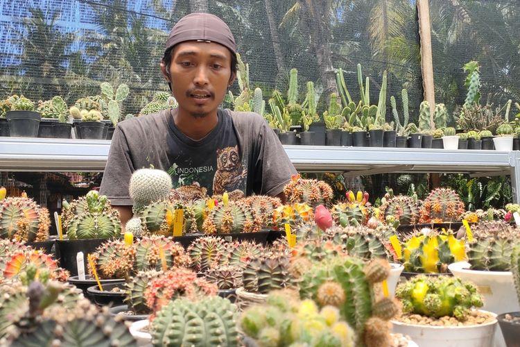 Joko Setiyono dan kaktus hias di rumahnya di Pedukuhan VIII, Kalurahan Bojong, Kapanewon Panjatan, Kabupaten Kulon Progo, Daerah Istimewa Yogyakarta.