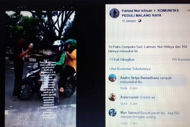 Aksi Dadik, pria berusia 70 tahun saat menjalankan pungutan liar terhadap sopir angkutan online di depan mal Matos Jalan Veteran Kota Malang.