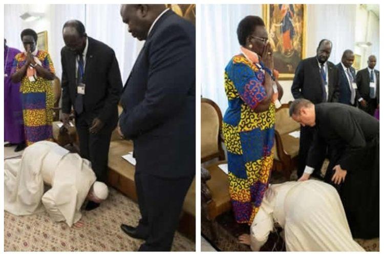 Paus Fransiskus mencium kaki para pemimpin Sudan Selatan di Vatikan, Kamis (11/4/2019). Paus meminta para pemimpin Sudan Selatan yang bertikai menghentikan perang saudara yang telah menewaskan ratusan ribu orang.
