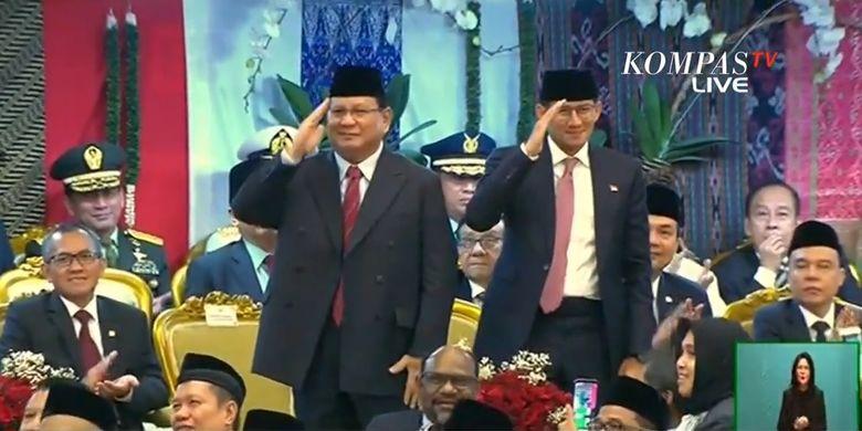 Capres dan cawapres dalam Pemilu Presiden 2019, Prabowo Subianto-Sandiaga Uno hadir dalam pelantikan presiden dan wapres terpilih, Joko Widodo dan Maruf Amin pada Minggu (20/10/2019).