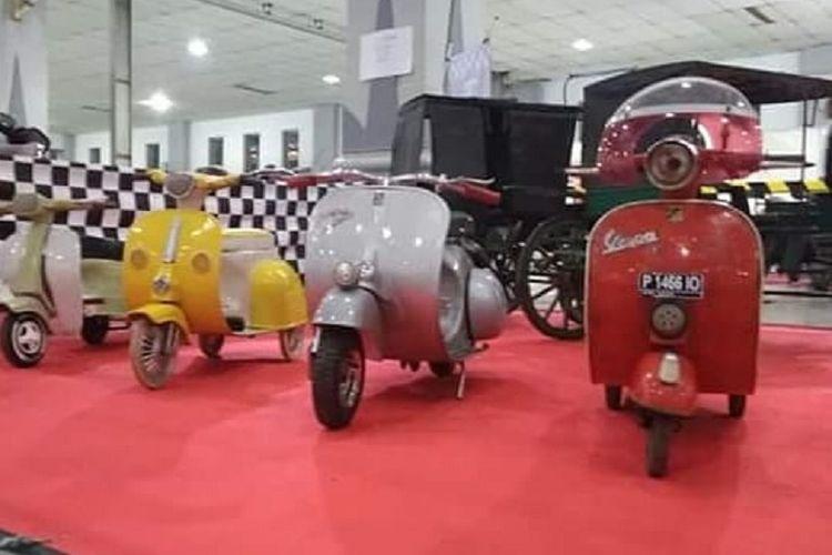 Deretan sepeda mirip Vespa buatan Yuliadi yang ikut meramaikan gelaran Indonesia Scooter Festival (ISF) 2018 di Yogyakarta pada 22-23 September.