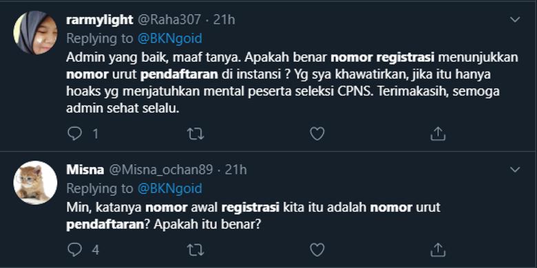 Pertanyaan pelamar CPNS kepada BKN melalui Twitter soal nomor registrasi yang menjadi indikasi jumlah pelamar pesaing.