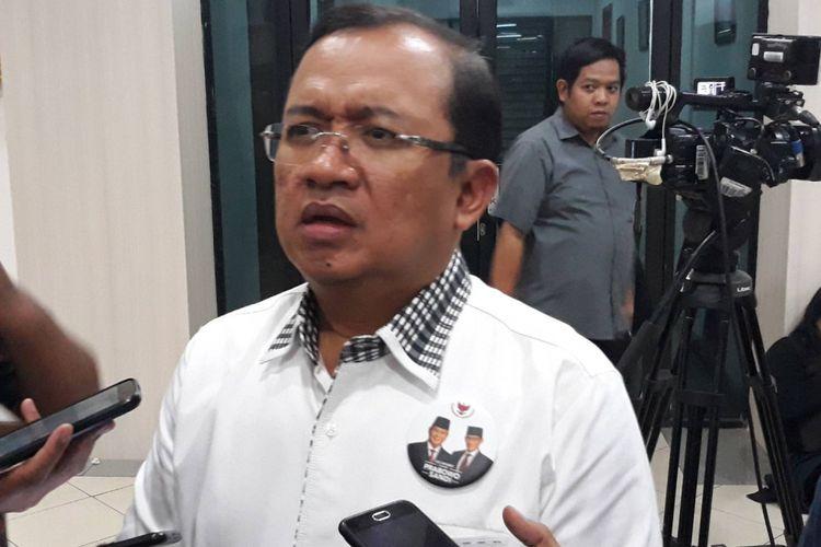 Wakil Ketua BPN Priyo Budi Santoso di kantor KPU, Menteng, Jakarta Pusat.