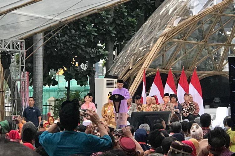 Mendikbud Muhadjir Effendy saat acara Kongres Kebudayaan Indonesia Tahun 2018, di Gedung Kemendikbud, Jakarta Pusat, Minggu (9/12/2018).